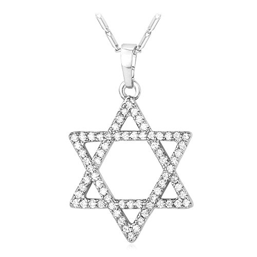(U7 Crystal Star of David Necklace Platinum Plated Link Chain AAA Cubic Zirconia Iced Out Magen David Star Pendant)