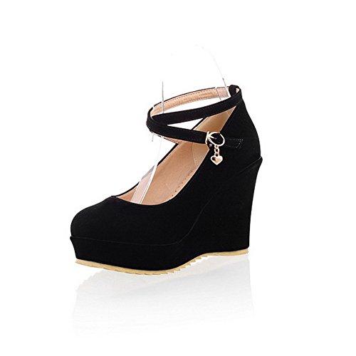 BalaMasa Womens Buckle High Heels Solid Black Pumps Shoes - 4.5 B(M) ()