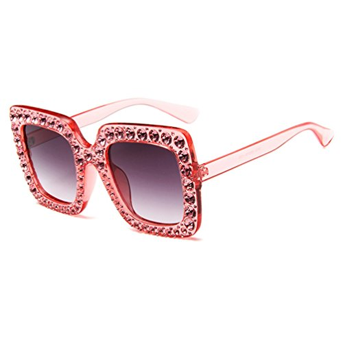 con Oversized Sunglasses Eyewear Gris de Gafas Rojo Mujer Elegante Colores Grandes Rhinestone LINNUO Sol YxaIqB8g