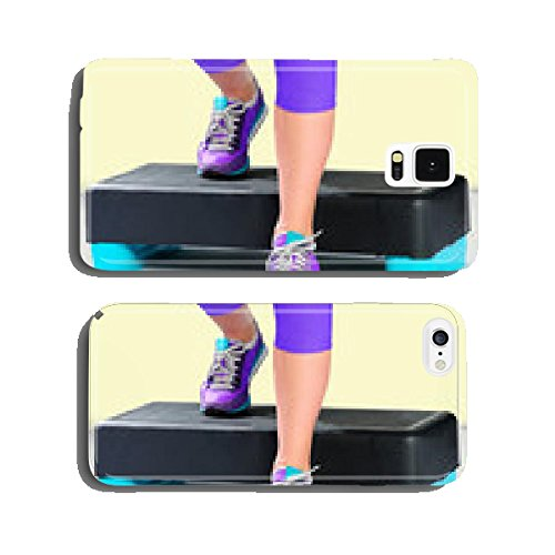 Female feet in violet sneakers on fitness aerobic stepper. cell phone cover case iPhone6