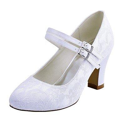 RTRY Las Mujeres'S Wedding Shoes Bomba Básica De Satén Stretch Primavera Otoño Boda &Amp; Noche Crystal Chunky Talón Blanco Marfil 2A-2 3/4 Pulg. US8.5 / EU39 / UK6.5 / CN40