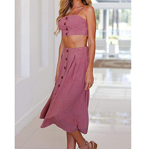 Set Knot Outfit Top Back Crop Dress Front Pink Skirt Midi Hot Cami Piece 2 Womens Rupfie Tie Buttons Dress Beach 7PwZzqfW