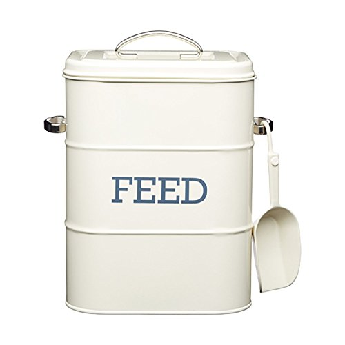 Cat / Dog / Bird Feed Storage Tin - 3kg - comes with 70g scoop - Cream 19x16x27cm