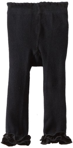 Jefferies Socks Baby-Girls Infant Pima Ruffle Footless Tight, Black, 0-6 Months