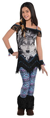 Amscan 846416 Girls Wolf Spirit Festival Costume - X-Large (14-16), Multicolor ()