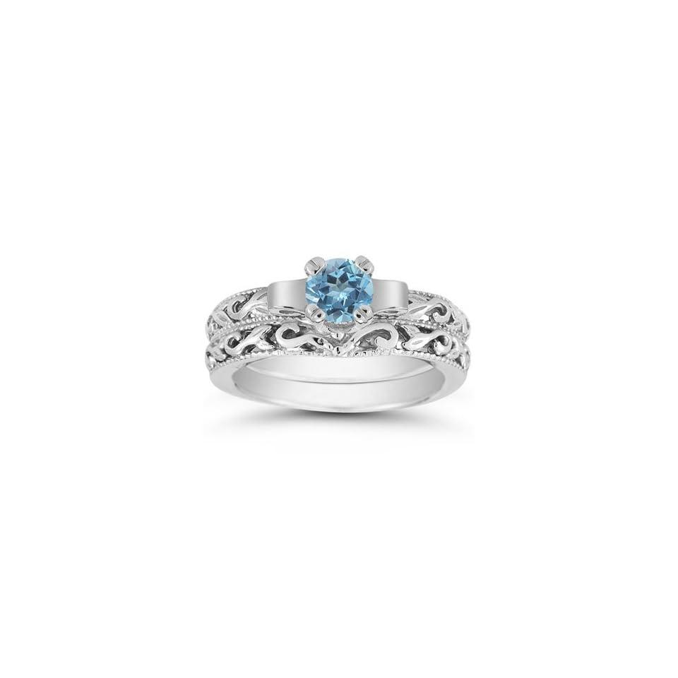 1 Carat Art Deco Blue Topaz Bridal Ring Set, 14K White Gold