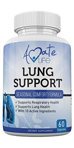 Amate Life Lung Support Dietary Supplements- Herbal Breathing Support- 10 Active Ingredients- Original Formula for Lung Health- Lung Cleanse Formula- Supplement for Bronchial System- 60 Caps- Non GMO by Amate Life (Image #1)