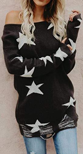 Rotondo Pullover Con A Maglioncino Starsace Donna Da Nero Scollo Maglia Maniche Lunghe aqw6fnx