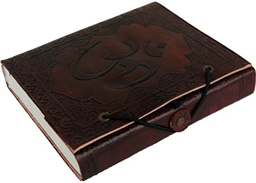 - LS Handmade Leather Journal with Embossed OM Look, Vintage Notebook, Diary, Sketchbook, Travel And Thought Blank Book for Writing & Sketching (5 x 6 Inches) - Brown