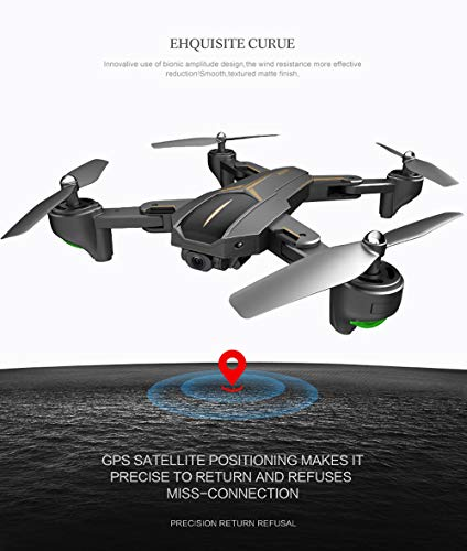 MOZATE VISUO XS812 GPS 5G WiFi FPV 5MP 1080P Wide Angle HD Camera Foldable RC Quadcopter Drone + Two Battery (Black, A) by MOZATE (Image #6)