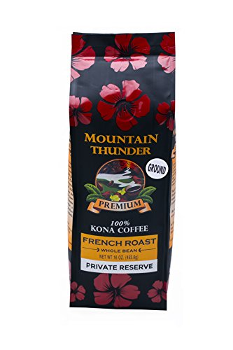 100% Kona Coffee - Withdrawn Reserve - Ground - French Roast - 16 Ounce Bag - by Mountain Thunder Coffee Plantation