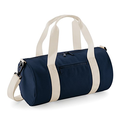 BagBase bolsa de lona el mini bolso del barril 12L 40x20x20cm Rojo clasico Off White French Navy/ Off White