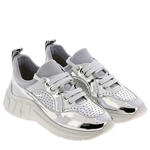 Zapatillas Mujer Plata Cuero Miu 5e329c3ks3f0118 g4F1FCa