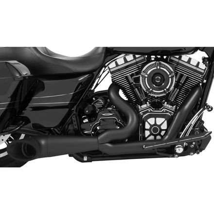 Turnout Exhaust Tip - 09-19 HARLEY XL883N: Freedom Performance 2-Into-1 Turnout Exhaust (Black With Black Tip)