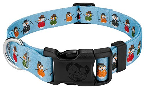 (Country Brook Petz | Caroling Snowmen Deluxe Dog Collar - Christmas Collection with 13 Designs (Large))