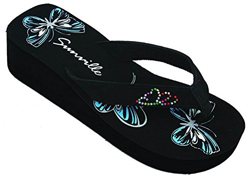 SV S-2338 Women's Sandals Flip Flops Platform Wedge Butterfly Studded Strap Thong Fashion Slip on Shoes (9 B(M) US, Blue Butterfly)