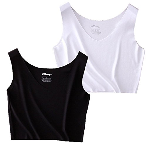 - HZH Women's Girls Crop Tank Tops Shirts for Yoga Dance Athletic Pack of 2