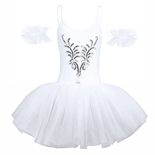 iiniim Women Adult Swan Lake Costumes Ballet Dress Leotard Tutu Dance Dress with Arm Band White Medium