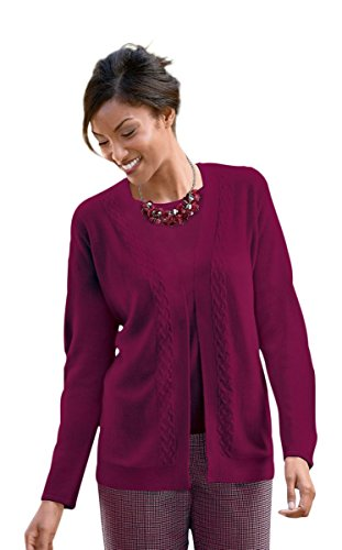 The Tog Shop Womens Petite Spindrift Open Drape Cardigan - P-M Black Cherry