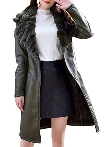 Donna Giaccone Vintage Fit Giovane Invernali Biker Jacket Fashion Slim Grün Calda Armee Lunga Con Cappotto Termico Giacca Eleganti Outerwear Collo Pelle Pelliccia Di Finta Manica BWqvOE