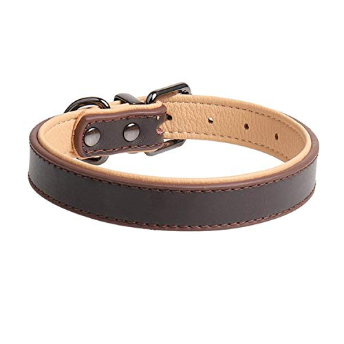 ZZmeet Dog Collar Pet Leather Collar Soft Double-Leather Cat Collar with Metal Buckle Pet Dog Products 2019,Brown,M