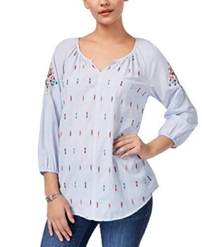 Style & Co. Beaded Embroidered Peasant Blouse (Bead Stripe, L) ()