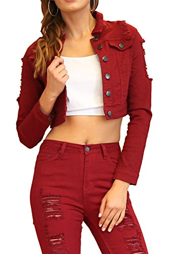 TwiinSisters Women's Basic Classic Casual Destroyed Button Down Denim Jacket - Size Small to 3X (Medium, Burgundy ()