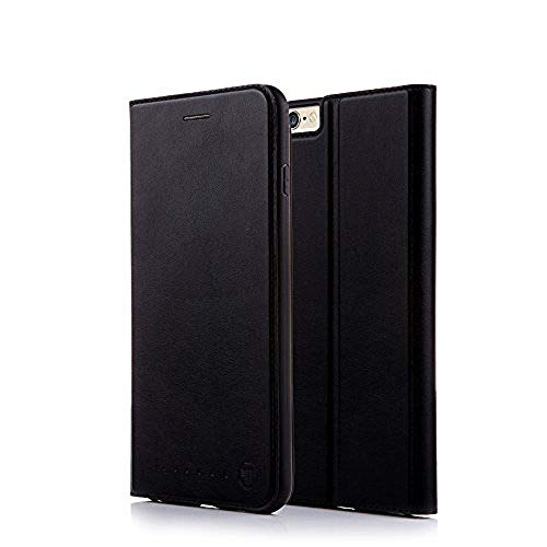 (Nouske iPhone 6/6S Flip Folio Wallet Stand up Credit Card Holder Leather Case Cover Holster/Magnetic Closure/TPU bumper/360 Full Body Protection, Black)