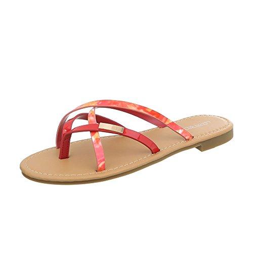 Ital-Design Zapatos Para Mujer Sandalias de Vestir Tacón Ancho Sandalias de Dedo Rojo Gold PM907-12