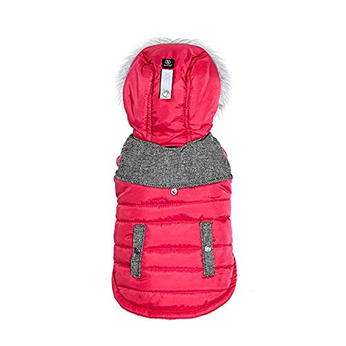 (Silver Paw SEPJ2805 Faux Fur Trim Quilted Hooded Puffy Dog Coats, Large, Pink)