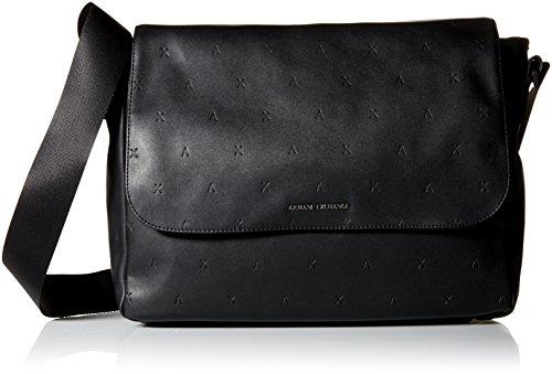 Armani Exchange Men's Embossed Messenger Bag Accessory, -nero, (Embossed Messenger Bag)