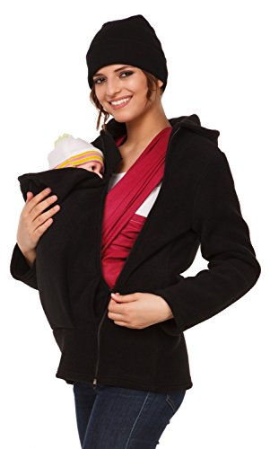 Happy Mama. Womens Maternity Fleece Hoodie Duo Top Carrier Baby Holder. 031p (Black, US 8, L)