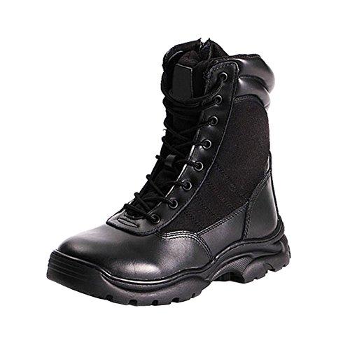 Hzjundasi Stivali in Pelle Nera da Combattimento ed Esercito Tattici per cadetti, Militari e Polizia Scarpe Martin Nero 2
