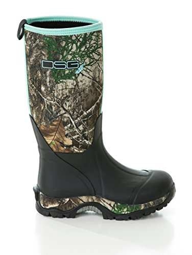 DSG Outerwear Women's Neoprene/Rubber Boots with Realtree Edge Camo and Aqua Blue Highlights (7)