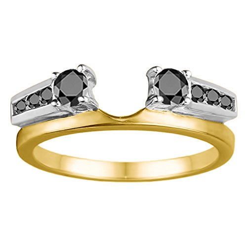Black Diamonds Wedding Ring Jacket In Two Tone Silver(0.31Ct) Size 3 To 15 in 1/4 Size Interval ()