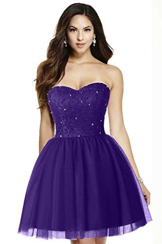 Ausschnitt Cocktailkleid Gorgeous Partykleid Applikation Brautjungfernkleid A Violett Mini Herz Modern Tuell Bride Linie wqBqSZxt