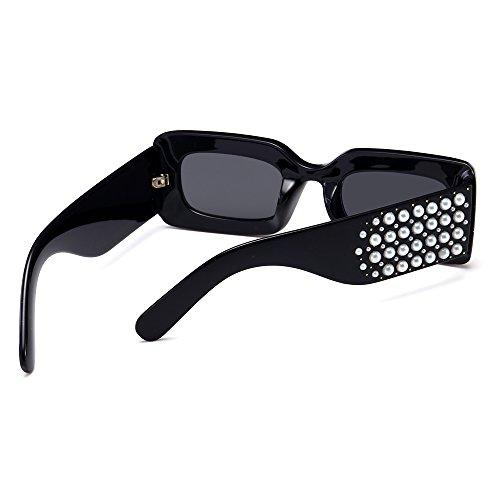 Sol De TIANLIANG04 Parte Gafas Cuadrado Sol Mujer Regalo La Rectángulo De Lujo Mujer Negro De Gafas Perla De 5qqr7S