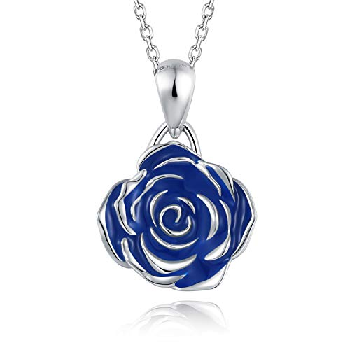 BEILIN S925 Sterling Silver Blue Rose Flower Pendants Necklaces Jewelry Gift for her (Blue)