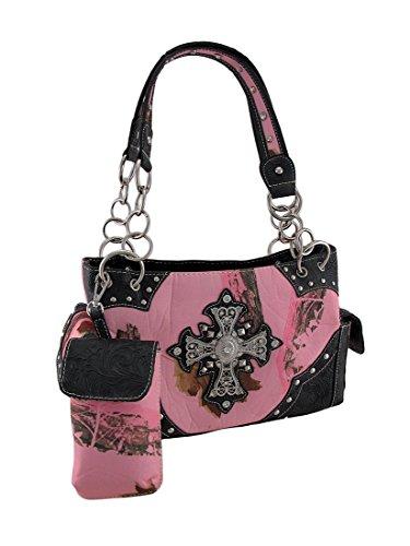 Zeckos Western Pink Camo Rhinestone Cross Concealed Carry...