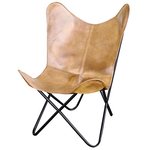 Natural Leather Butterfly Chair in Light Tan (Chair Sling Leather Butterfly)