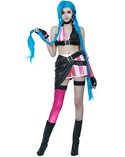 Miccostumes Women's League of Legends Loose Cannon Jinx Cosplay Costume (S)