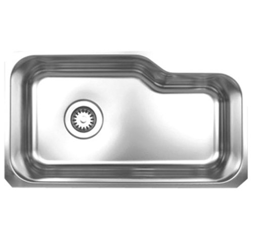 Whitehaus WHNUB3016-BSS Noah's Collection 32 1/8-Inch Single Bowl Undermount Kitchen Sink, Brushed Stainless ()