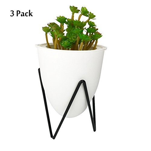 3 Pack Modern White Self Watering Plastic Planter with Black Metal Iron Stand Base Sphere Indoor Pot Vase for Succulent Cactus Air Plant African Violet Flower Office Home Desktop Decorative Desk Decor