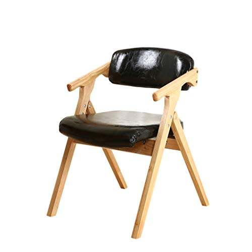 Folding Chair Solid Wood PU Leather Black