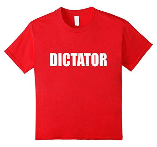 Dictator Costume Girl (Kids Dictator T Shirt Halloween Costume Funny Cute Distressed 10 Red)
