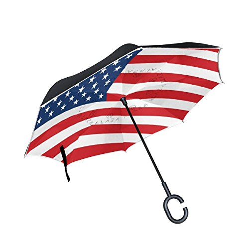 Ladninag United State Flag Inverted Umbrella, Large Double Layer Outdoor Rain Sun Car Reversible Umbrella