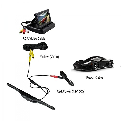 Backup Camera,Esky Car Rear View 180/° Viewing Angle 100/% Waterproof High-Definition CCD 2 LED Night Vision