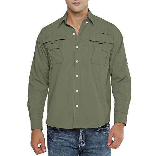 Jessie Kidden Men's Quick Dry Sun UV Protection Long Sleeve Fishing Shirts for Work Travel Military,5052,Army Green,US XXL