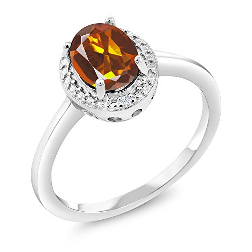 1.11 Ct Oval Orange Red Madeira Citrine White Diamond 925 Sterling Silver Ring (Size 7) ()