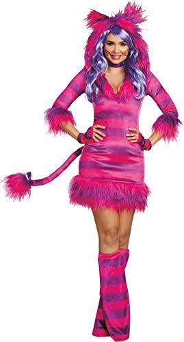 Dreamgirl Women's Colorful Magic Cat Storybook Costume Dress, Pink/Purple, Medium